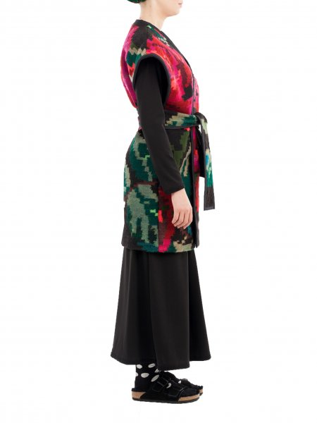 Long Traditional Wool Vest with Floral Pattern