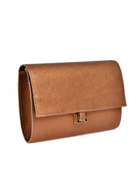 Metallic Brown Leather Clutch