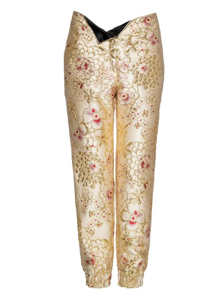 Metallic Silk-Blend Jacquard Trousers