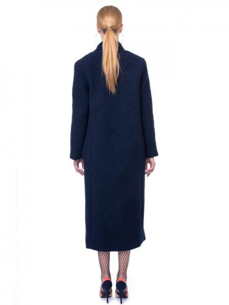 Navy Blue Cocoon Wool Coat