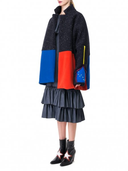 Oversized Wool Coat in Colour Block