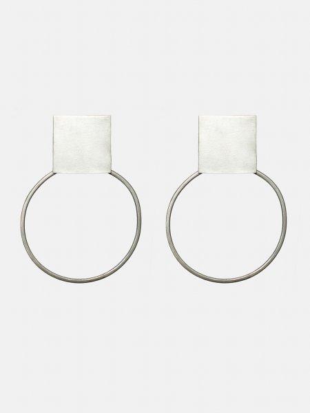 Plattitude Silver Circled Earrings
