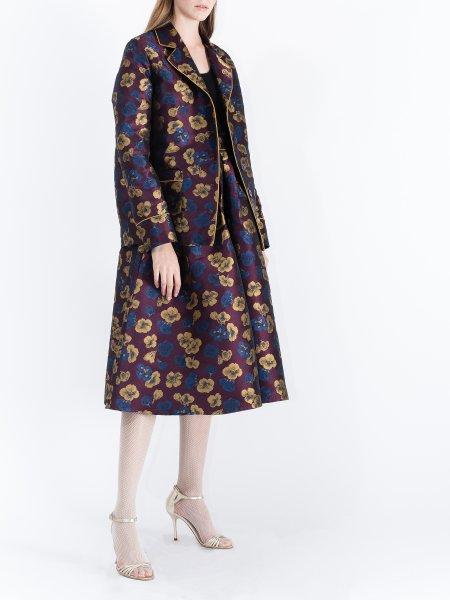 Plum Jacquard Kimono with Floral Pattern
