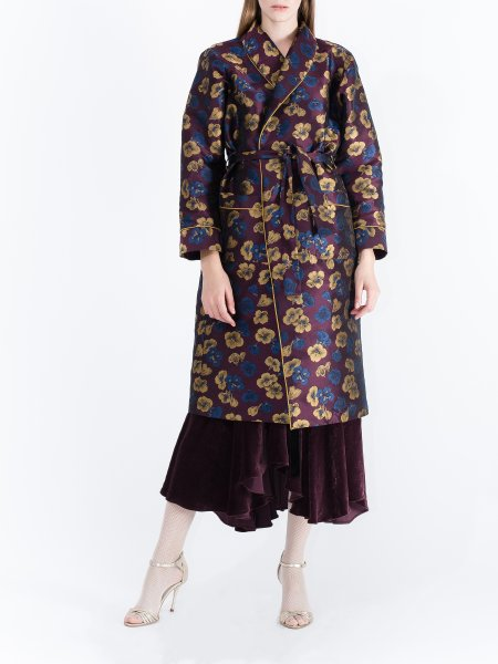 Plum Jacquard Robe with Floral Pattern
