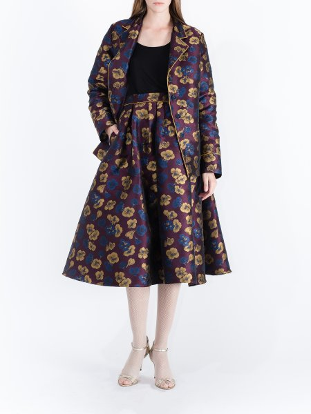 Plum Jacquard Skirt with Floral Pattern