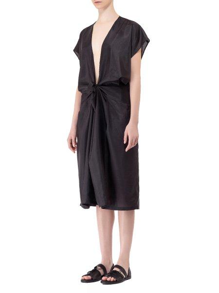 Plunged V-Neck Silk Dress