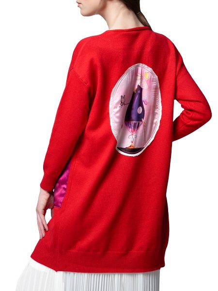 Red Cardigan with Silk Insertions