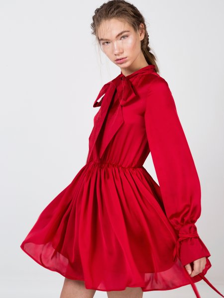 Red Silk Dress with Bow