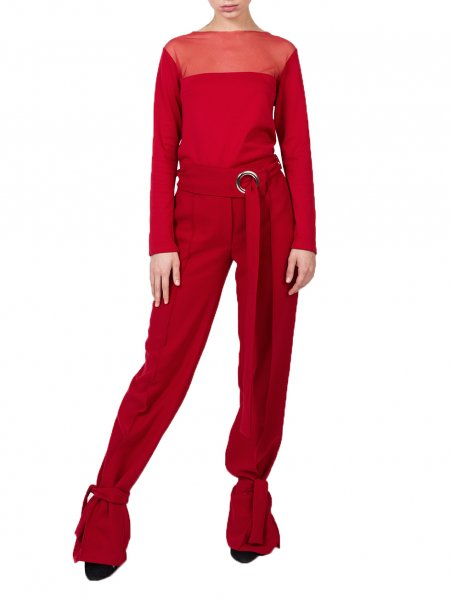 Red Trousers with Buckle