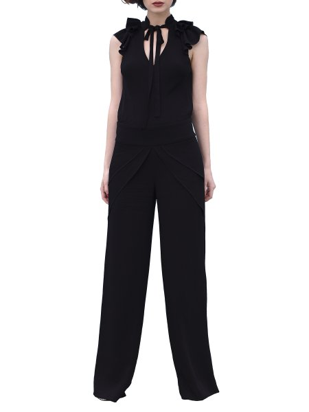 Relaxed Black Jumpsuit With Open Back