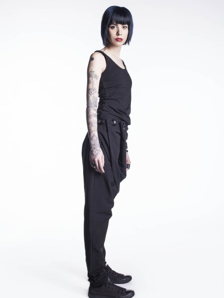 Relaxed Fit Cotton Trousers With Front Buttons