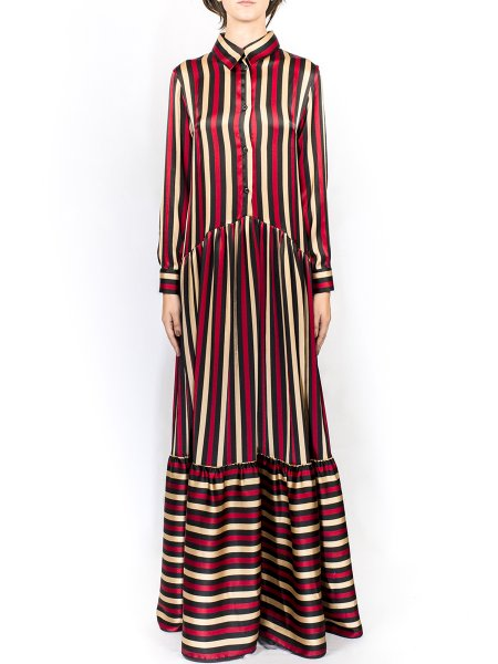Silk Long Stripped Dress