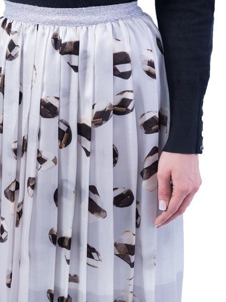 Silk Printed Midi Skirt
