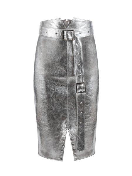 Silver Midi Leather Skirt