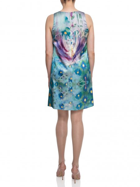 Sleeveless Printed Silk Dress