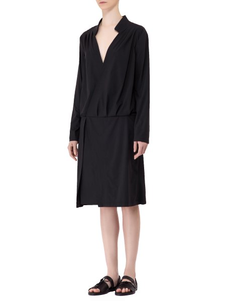 Soft Cotton Black Midi Dress