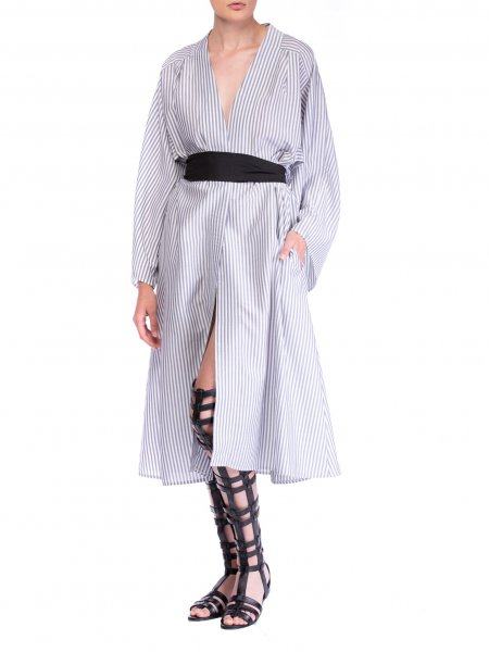 Striped Poplin Dress With Waistband