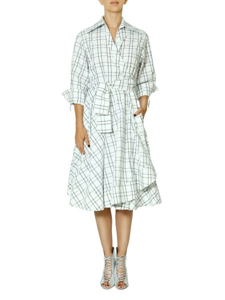 Striped Wrap-Effect Dress