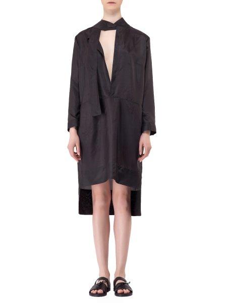 V Plunged Neck Silk Dress