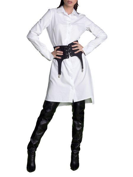 Waist Lock White Shirt Dress