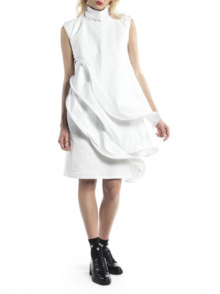 White Cocktail Dress With Independent Layers