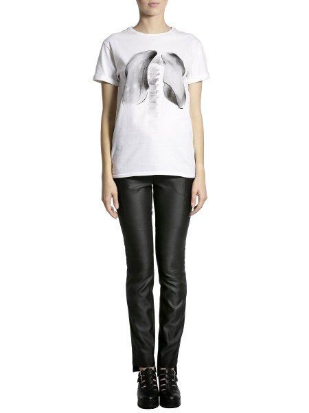 White Cotton Printed T-shirt