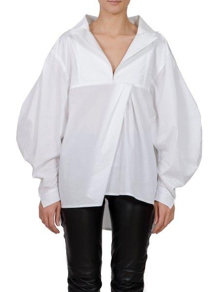 White Oversized Cotton Shirt with V-Neck