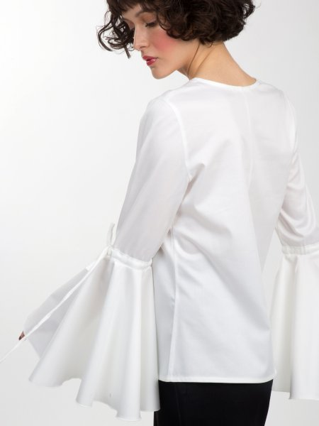 White Cotton Shirt With Flared Sleeves