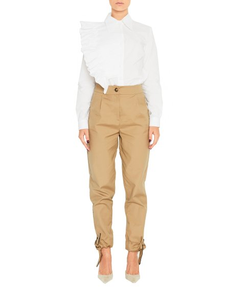 White Cotton Shirt with Pleated Detail