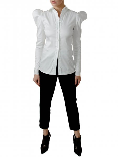 White Cotton Shirt With Structured Shoulders