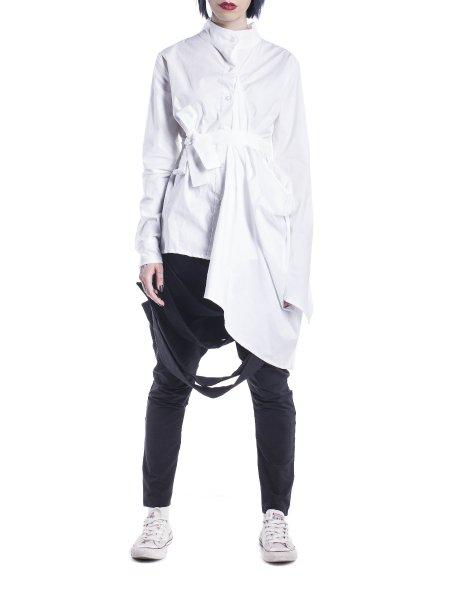 White Cotton Shirt With Waist Belt