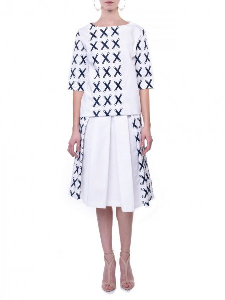 White Embroidered Cotton Skirt