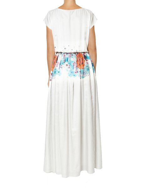 White Printed Silk Maxi Dress