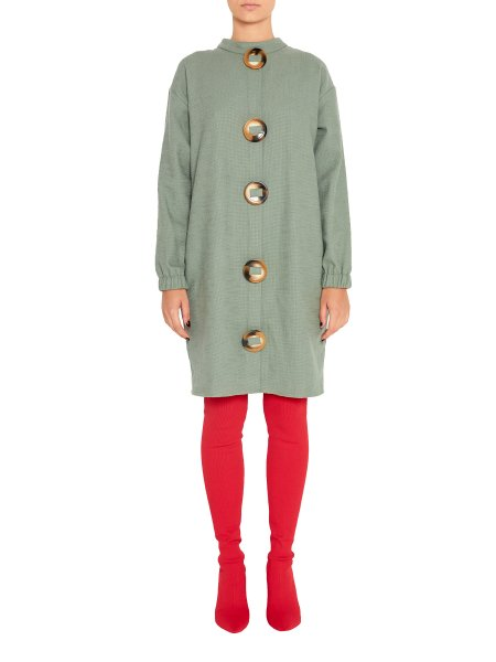 Woolen Dress With Oversized Buttons