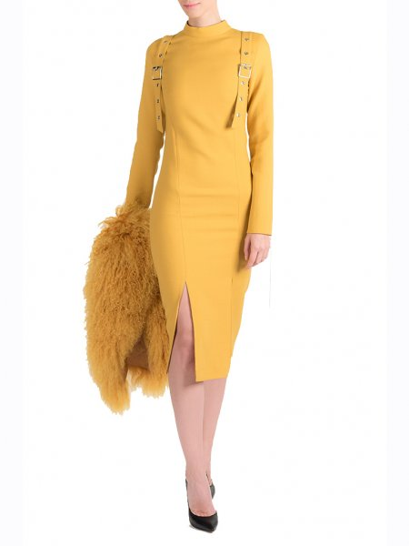 Yellow Dress with Metallic Insertions