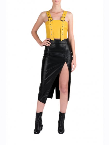 Yellow Leather Top with Metallic Details