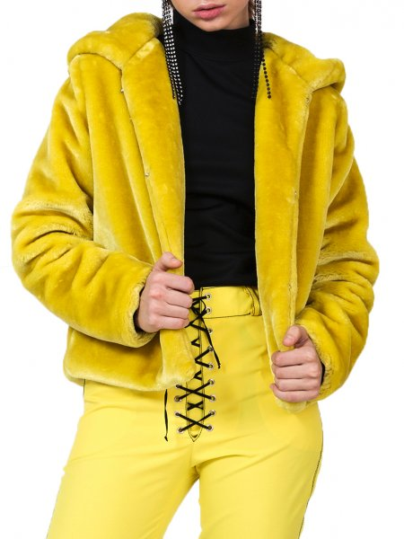 Yellow Short Fur Jacket
