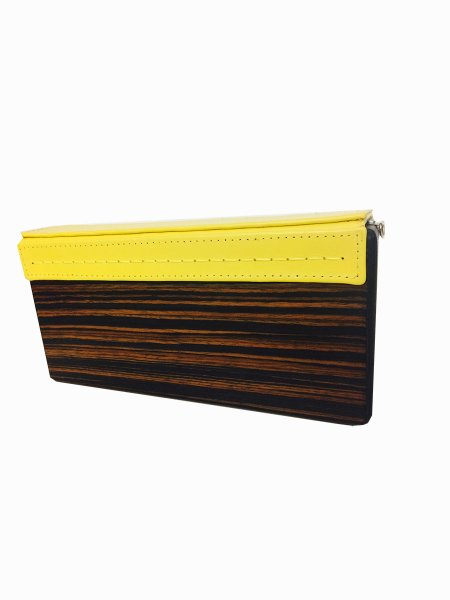 Yellow Wood & Leather Handcrafted Bag